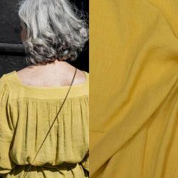 Tissu viscose plissée jaune Fibremood Danna