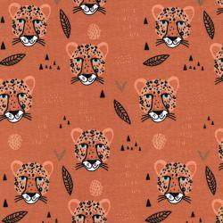 Tissu jersey tête de léopard fond camel