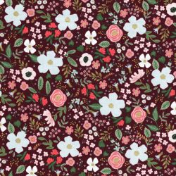Tissu coton Garden party glitter or fond  bordeaux Rifle Paper Co