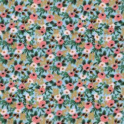 Tissu coton Garden party glitter or fond bleu Rifle Paper Co