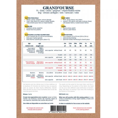 Patron Ikatee Grand'Ourse 6 mois - 4 ans