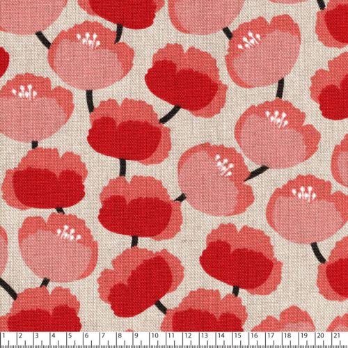 Tissu toile de coton façon lin fleurs roses/rouges