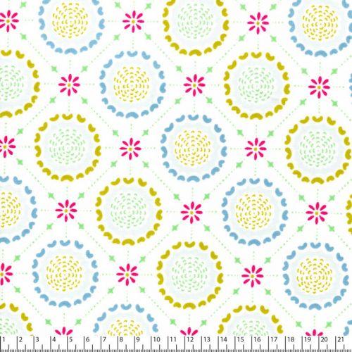 Tissu coton Michael Miller fleurs médaillon fond blanc
