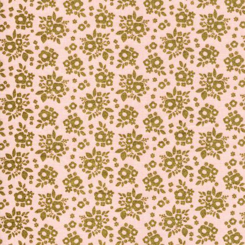 Tissu fleurs dorées fd rose 100%coton larg 110 cm