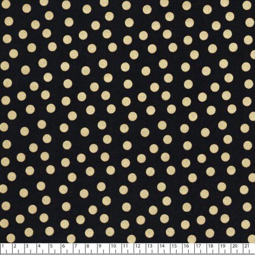 Tissus pois dorés fd noir 100% coton larg 110 cm
