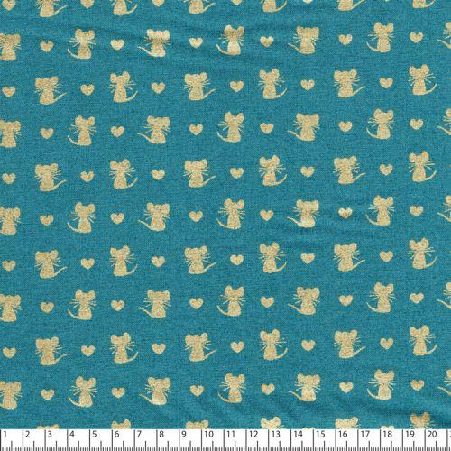Tissu coton Michael Miller Souris dorées fond vert canard