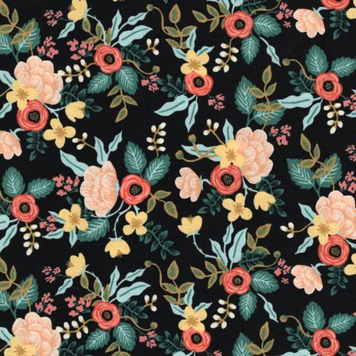 Tissu coton Primavera fond noir Rifle Paper