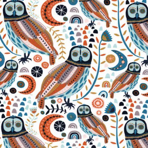 Tissu coton chouettes multicolores fond blanc