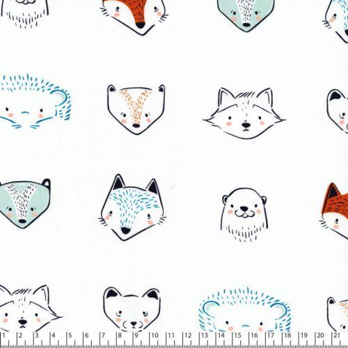 Tissu coton portraits d'animaux fond menthe pastel
