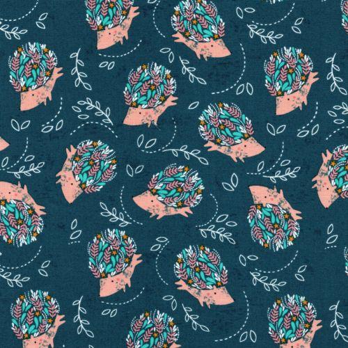 Tissu coton porc-épics fond bleu canard Dashwood