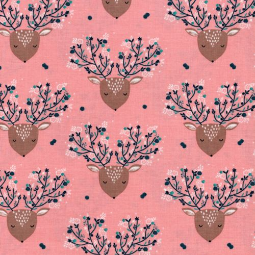 Tissu coton cerfs romantiques fond rose Dashwood