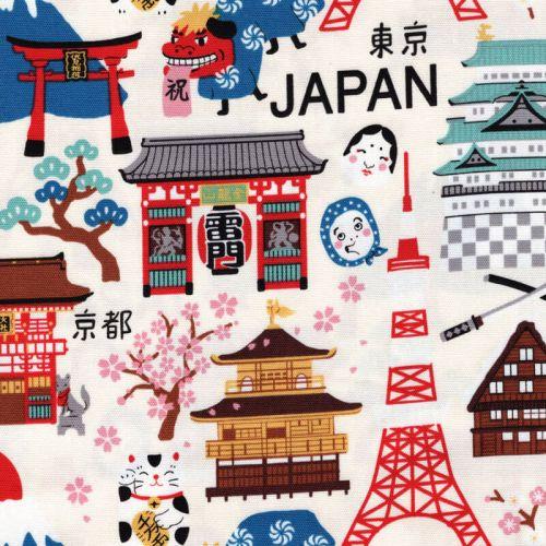 Tissu coton japonais Hello Japan
