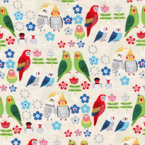 Tissu coton japonais perroquets glitter