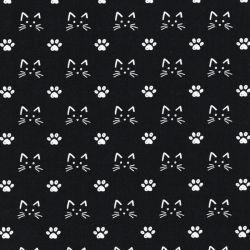 Tissu popeline coton chat & pattes fond noir