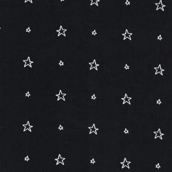Tissu coton popeline étoile creuse fond noir