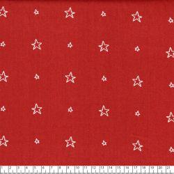 Tissu coton popeline étoile creuse fond rouille