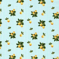 Tissu coton citrons vintage fond céladon