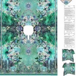 Panneau voile de coton pour coudre un Caftan vert 150 cm x 200 cm