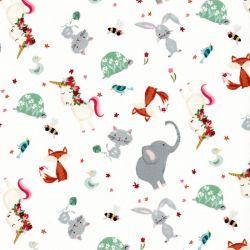 Tissu coton Animal alphabet