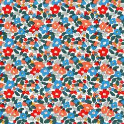 Tissu coton fleurs tons orangé fond blanc