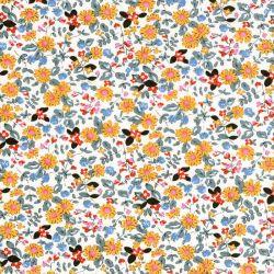 Tissu coton fleurs d'été fond écru