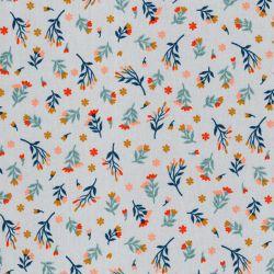 Tissu coton fleurs coupées branches glitter fond gris