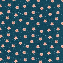 Tissu coton Lovely rainbow story fond bleu canard Poppy