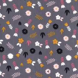 Tissu coton Lovely rainbow story fond gris Poppy