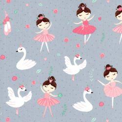 Tissu coton Ballerines cygnes et roses Poppy