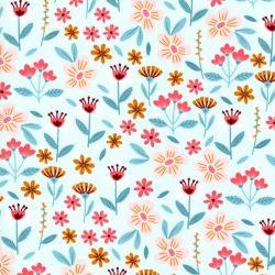 Tissu coton Flowers fond bleu Poppy