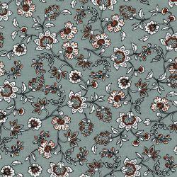Tissu viscose fleurs indiennes ocre fond vert/gris