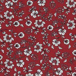 Tissu viscose fleurs indiennes grises fond terracotta