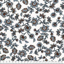 Tissu viscose fleurs indiennes bleu fond écru