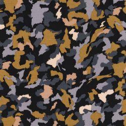 Tissu viscose camouflage fond noir
