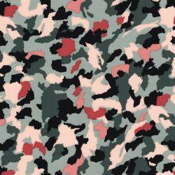 Tissu viscose camouflage fond vert