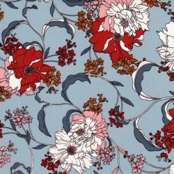 Tissu twill viscose grandes fleurs fond gris bleu