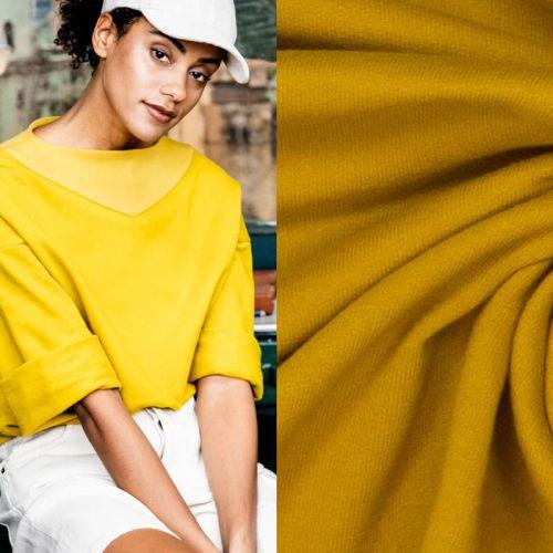 Tissu sweat fin coton golden palm Fibremood Joy