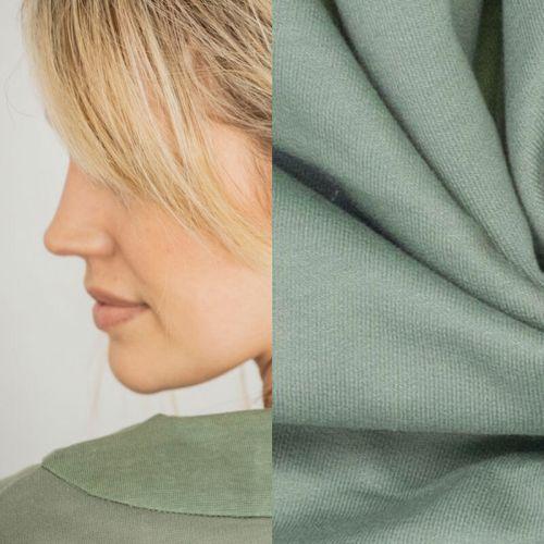 Tissu sweat fin coton vert Fibremmod Vera