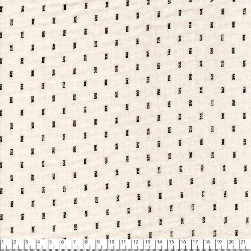Tissu double gaze de coton écru rectangle or