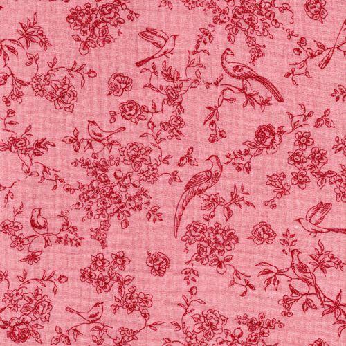 Tissu double gaze Romantic Poppy fond rose