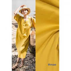 Tissu coton stretch jaune Maé, Chloé Fibremood