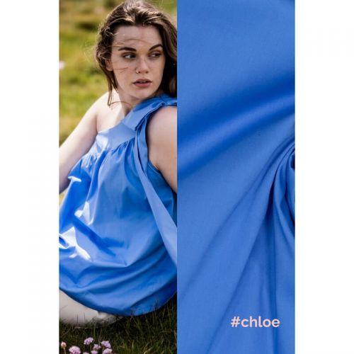 Tissu coton stretch bleu Chloé  Fibremood