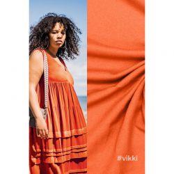 Tissu crêpe viscose orange Vikki Fibremood