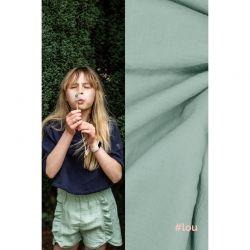 Tissu double gaze de coton vert Lou Fibremood