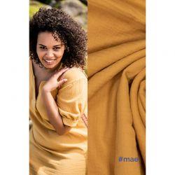 Tissu double gaze de coton jaune Maé Fibremood