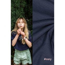 Tissu double gaze de coton bleu Cory Fibremood