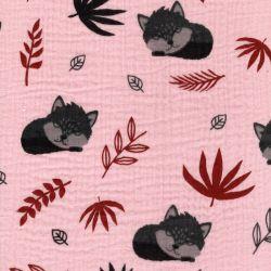 Tissu double gaze de coton renard fond rose