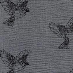 Tissu double gaze de coton oiseau fond gris