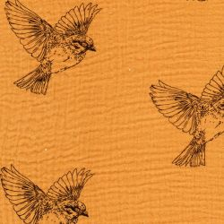 Tissu double gaze de coton oiseau fond moutarde