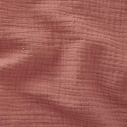 Tissu Double gaze de coton froisée marsala